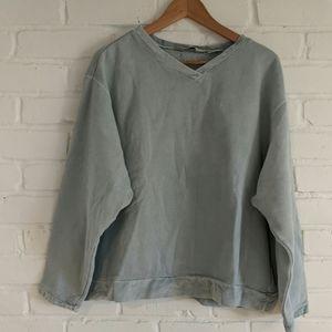Eddie Bauer V-Neck Sweatshirt w/ Velvet Trim